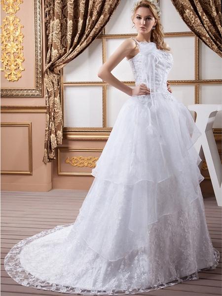 A-Line One Shoulder Court Train Lace Organza Satin Spaghetti Strap Wedding Dresses_2