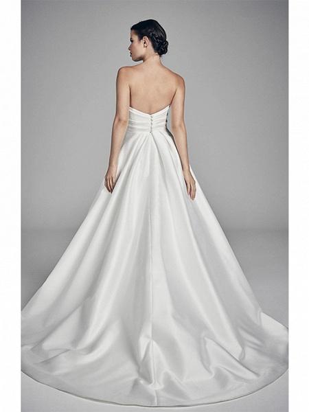 A-Line Wedding Dresses Strapless Sweep \ Brush Train Charmeuse Strapless_2