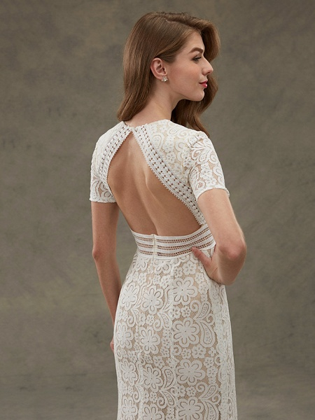 Sheath \ Column Wedding Dresses Jewel Neck Floor Length Sheer Lace Short Sleeve Open Back See-Through_9
