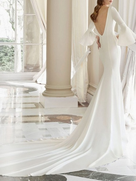 Mermaid \ Trumpet Wedding Dresses Bateau Neck Court Train Satin 3\4 Length Sleeve_2