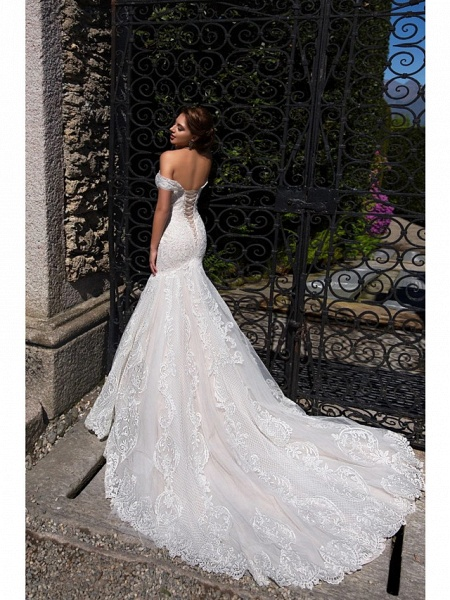 Mermaid \ Trumpet Off Shoulder Court Train Lace Tulle Short Sleeve Sexy Backless Wedding Dresses_3