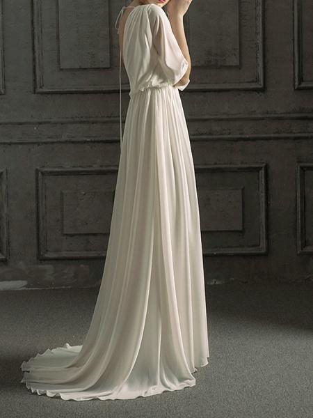 A-Line Wedding Dresses Jewel Neck Sweep \ Brush Train Chiffon Satin Half Sleeve Simple Elegant_6