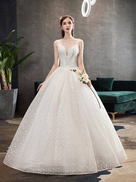 Ball Gown Wedding Dresses V Neck Floor Length Lace Tulle Polyester Sleeveless Formal Romantic Sexy_1