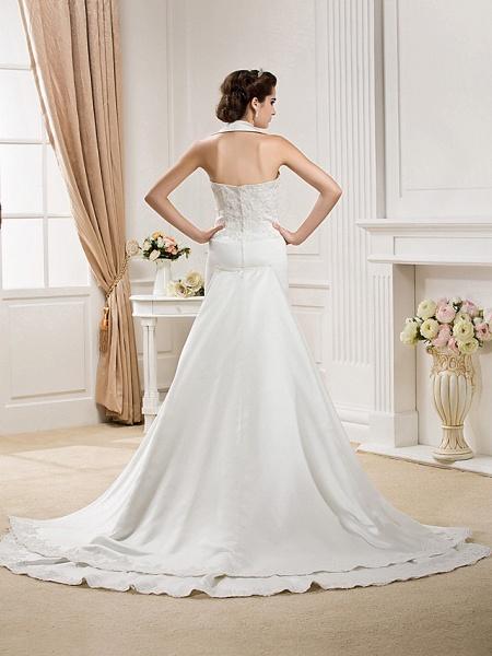 Mermaid \ Trumpet Halter Neck Court Train Satin Sleeveless Wedding Dresses_4