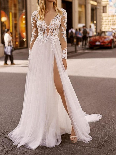 A-Line Wedding Dresses Plunging Neck Sweep \ Brush Train Lace Tulle Chiffon Over Satin Long Sleeve Country Plus Size_1