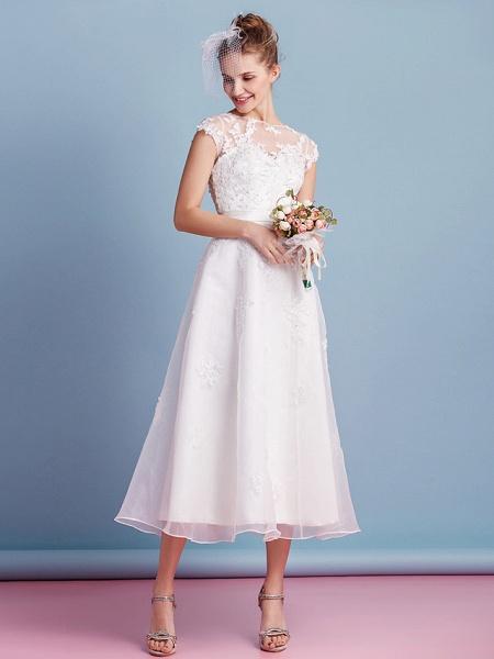 A-Line Wedding Dresses Bateau Neck Tea Length Organza Cap Sleeve Simple Casual Illusion Detail_7