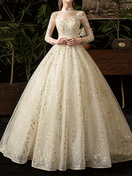 A-Line Wedding Dresses Jewel Neck Floor Length Lace Tulle Long Sleeve Formal Plus Size Illusion Sleeve_1