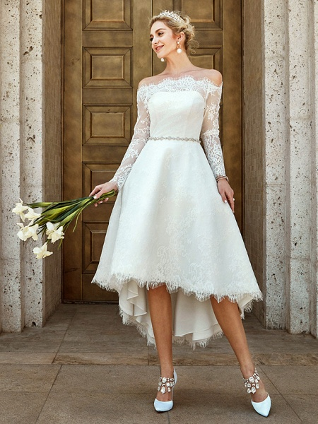 A-Line Wedding Dresses Off Shoulder Asymmetrical Lace Long Sleeve Casual Plus Size Illusion Sleeve_1