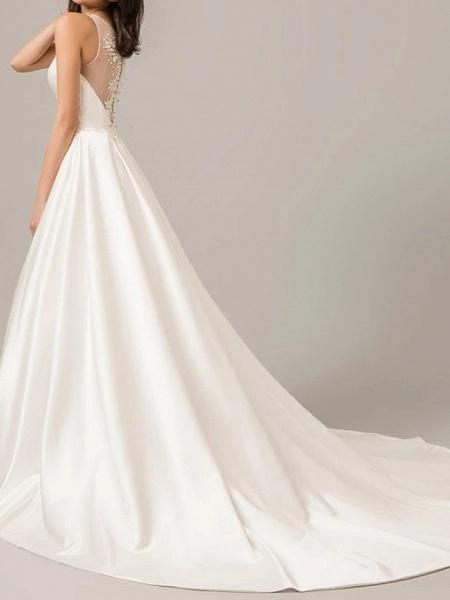 A-Line Wedding Dresses V Neck Sweep \ Brush Train Polyester Sleeveless Formal Plus Size_3