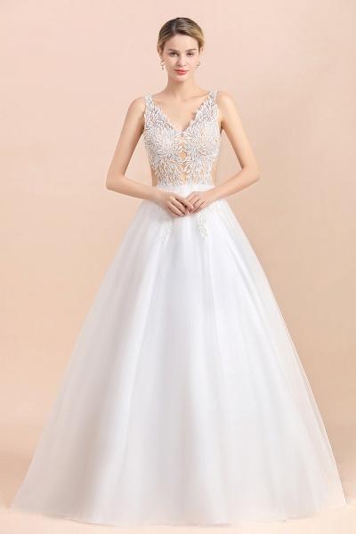 Elegant Sleeveless A-line Floral Appliques Wedding Dress_3