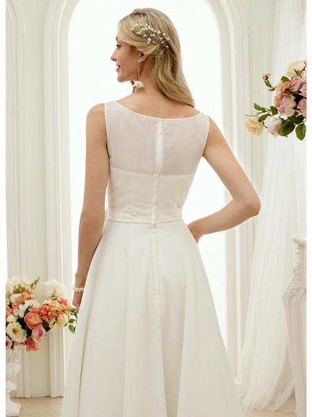 A-Line Wedding Dresses Bateau Neck Tea Length Chiffon Regular Straps Vintage Little White Dress 1950s_8