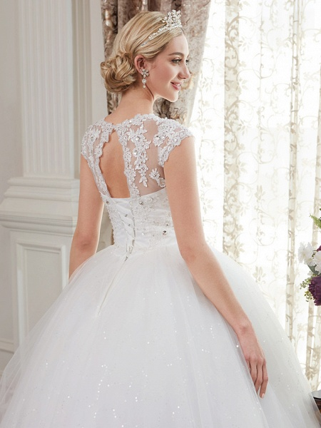 Ball Gown Wedding Dresses V Neck Floor Length Satin Lace Over Tulle Cap Sleeve Romantic Illusion Detail_8