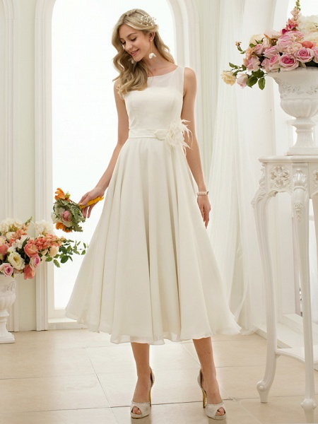 A-Line Wedding Dresses Bateau Neck Tea Length Chiffon Regular Straps Vintage Little White Dress 1950s_4