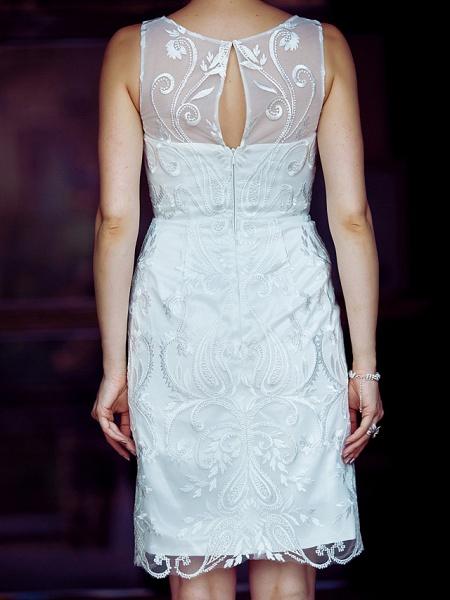 Sheath \ Column Wedding Dresses Bateau Neck Knee Length Metallic Lace Sleeveless Little White Dress See-Through_8