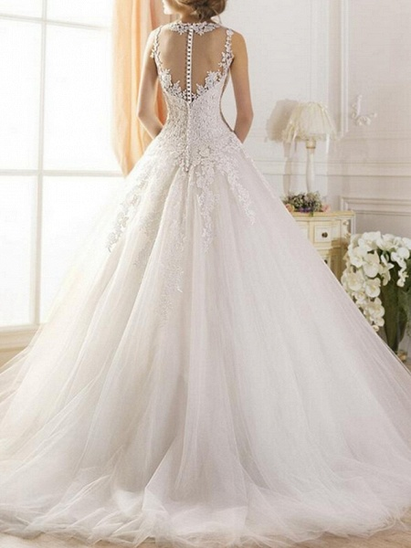 A-Line Wedding Dresses Jewel Neck Sweep \ Brush Train Tulle Regular Straps Glamorous Illusion Detail Backless_2