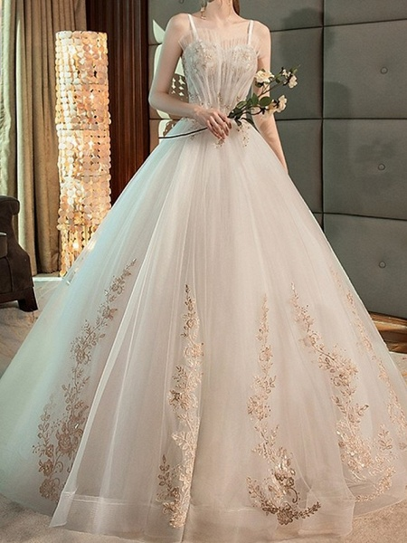 A-Line Wedding Dresses Strapless Floor Length Lace Sleeveless Beach_1