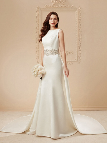 Mermaid \ Trumpet Wedding Dresses Bateau Neck Cathedral Train Satin Regular Straps Vintage Inspired_10