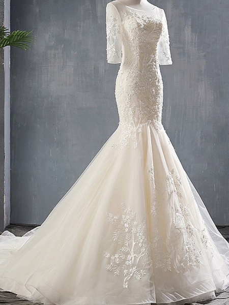 Mermaid \ Trumpet Wedding Dresses Jewel Neck Sweep \ Brush Train Polyester Half Sleeve_2