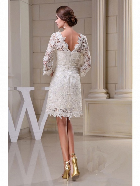 A-Line Wedding Dresses Jewel Neck Knee Length All Over Floral Lace 3\4 Length Sleeve Vintage Backless Illusion Sleeve_2