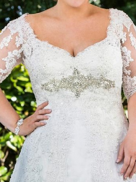 A-Line Scoop Neck Sweep \ Brush Train Lace Tulle Half Sleeve Country Plus Size Wedding Dresses_4