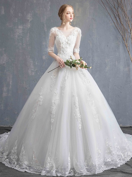 Ball Gown Wedding Dresses Scoop Neck Chapel Train Lace Tulle Sequined Half Sleeve Glamorous See-Through Illusion Sleeve_7