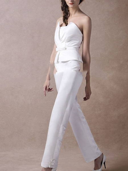 Jumpsuits Wedding Dresses V Neck Floor Length Satin Sleeveless Simple Modern_6