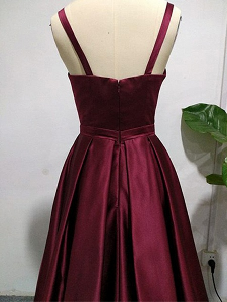 A-Line Sexy Red Quinceanera Formal Evening Dress V Neck Sleeveless Sweep \ Brush Train Jersey_5