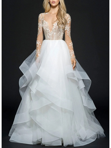 Ball Gown Wedding Dresses V Neck Floor Length Organza Long Sleeve Illusion Sleeve_1