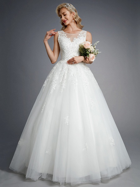 Ball Gown Wedding Dresses Jewel Neck Floor Length Lace Tulle Regular Straps Formal Casual Illusion Detail Backless_5