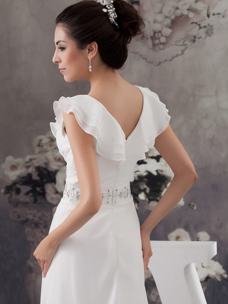 A-Line V Neck Court Train Chiffon Satin Spaghetti Strap Wedding Dresses_5