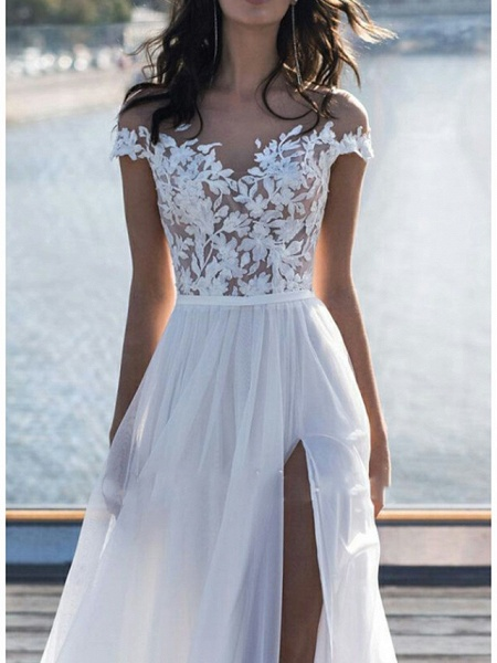 A-Line Wedding Dresses Off Shoulder Sweep \ Brush Train Lace Short Sleeve Beach Boho See-Through Illusion Detail_3