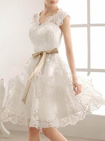 A-Line Wedding Dresses V Neck Knee Length Lace Sleeveless Vintage Little White Dress 1950s_1