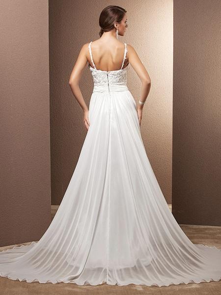 A-Line Wedding Dresses Scoop Neck Sweep \ Brush Train Chiffon Spaghetti Strap Formal_2