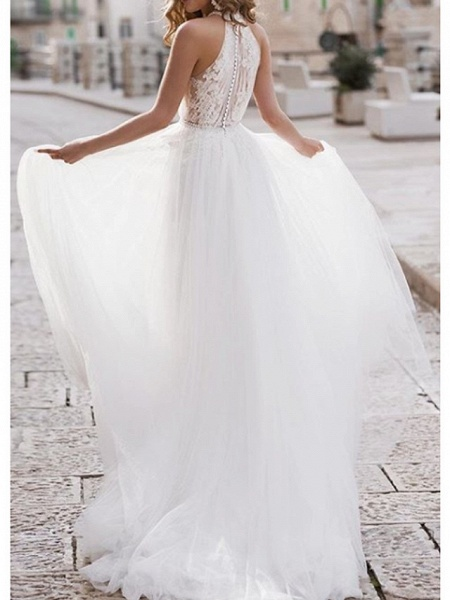 A-Line Wedding Dresses Halter Neck Asymmetrical Lace Tulle Regular Straps Boho_2