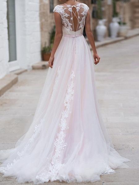A-Line Wedding Dresses Jewel Neck Sweep \ Brush Train Lace Taffeta Chiffon Over Satin Short Sleeve Country Plus Size_2