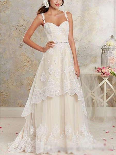 A-Line Wedding Dresses Sweetheart Neckline Sweep \ Brush Train Asymmetrical Lace Tulle Lace Over Satin Spaghetti Strap Cute_1