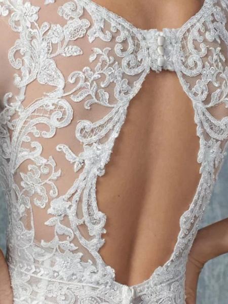 A-Line Wedding Dresses Jewel Neck Court Train Tulle 3\4 Length Sleeve Illusion Sleeve_4