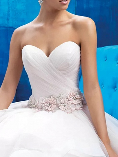 Ball Gown Strapless Sweep \ Brush Train Tulle Polyester Sleeveless Country Plus Size Wedding Dresses_2