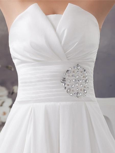 A-Line Wedding Dresses Strapless Chapel Train Satin Strapless_6