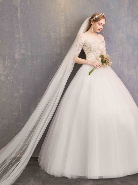 Ball Gown Wedding Dresses Off Shoulder Floor Length Tulle Lace Over Satin Half Sleeve Glamorous Illusion Detail_5