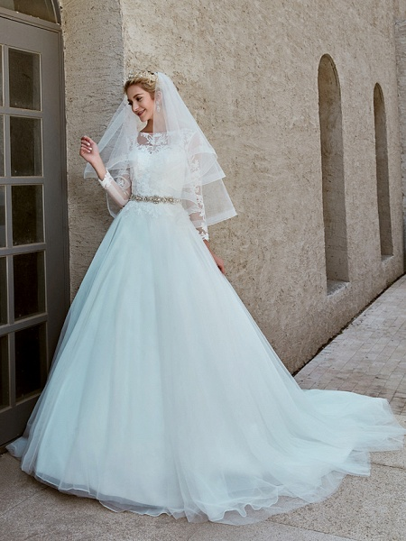 Ball Gown Wedding Dresses Bateau Neck Chapel Train Lace Tulle Long Sleeve Beautiful Back Illusion Sleeve_10