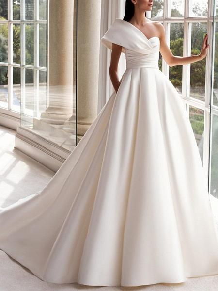 A-Line Wedding Dresses One Shoulder Sweep \ Brush Train Satin Short Sleeve Plus Size Modern_1