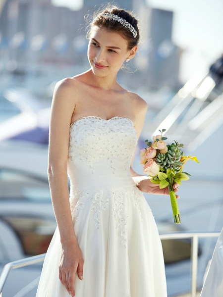 A-Line Wedding Dresses Strapless Asymmetrical Tulle Strapless Casual Beach Little White Dress Backless_10