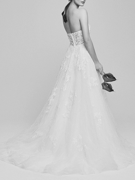 A-Line Wedding Dresses Sweetheart Neckline Court Train Lace Tulle Strapless Romantic Backless_3