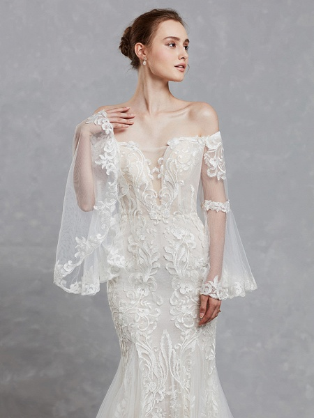 Mermaid \ Trumpet Off Shoulder Court Train Lace Tulle Long Sleeve Romantic Boho See-Through Backless Illusion Sleeve Wedding Dresses_10