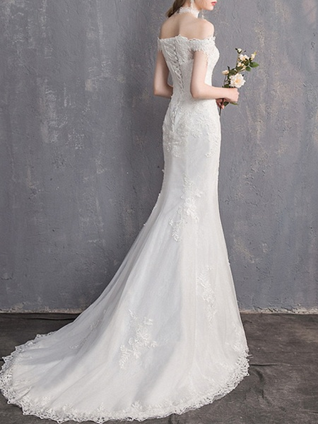 Mermaid \ Trumpet Wedding Dresses Off Shoulder Sweep \ Brush Train Lace Tulle Sleeveless Country Plus Size Backless_5