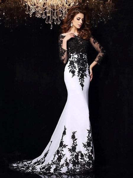 Mermaid \ Trumpet Wedding Dresses Bateau Neck Sweep \ Brush Train Lace Tulle Lace Over Satin Long Sleeve Sexy Black Illusion Sleeve_2
