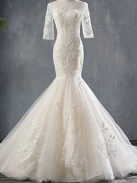 Mermaid \ Trumpet Wedding Dresses Jewel Neck Sweep \ Brush Train Polyester Half Sleeve_1