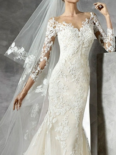 Mermaid \ Trumpet Wedding Dresses V Neck Sweep \ Brush Train Lace 3\4 Length Sleeve Sexy Illusion Sleeve_2