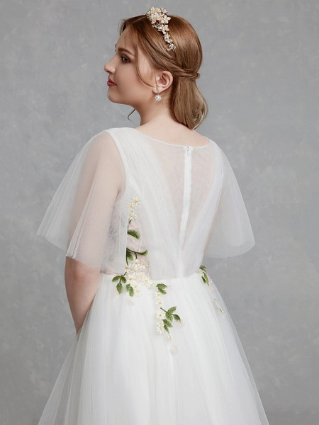 A-Line Wedding Dresses Jewel Neck Sweep \ Brush Train Tulle Short Sleeve Casual Boho Plus Size_7